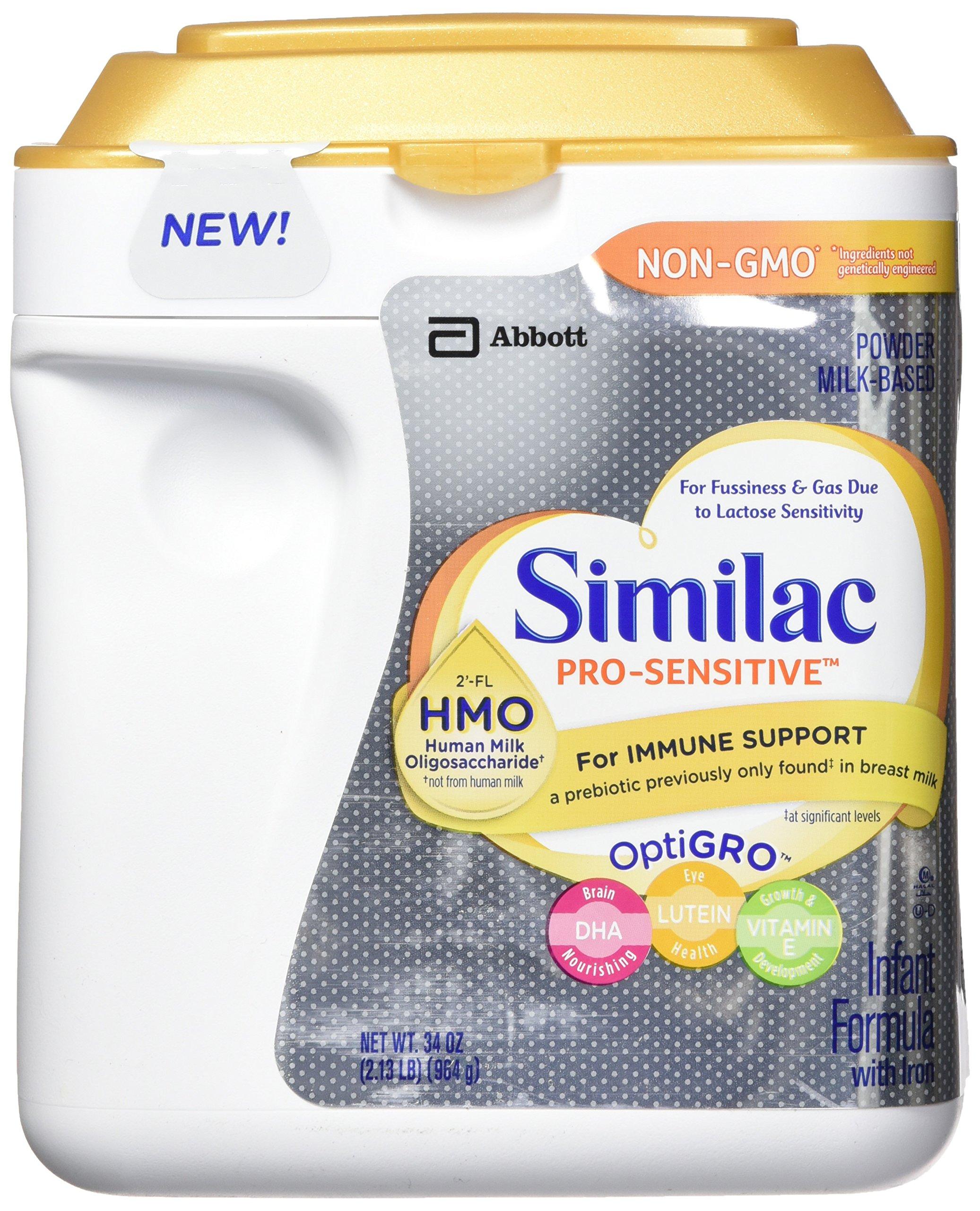Similac Abbott Pro-Sensitive Non-GMO Powder Infant Formula with Iron with 2'-FL HMO for Immune Support 34 oz