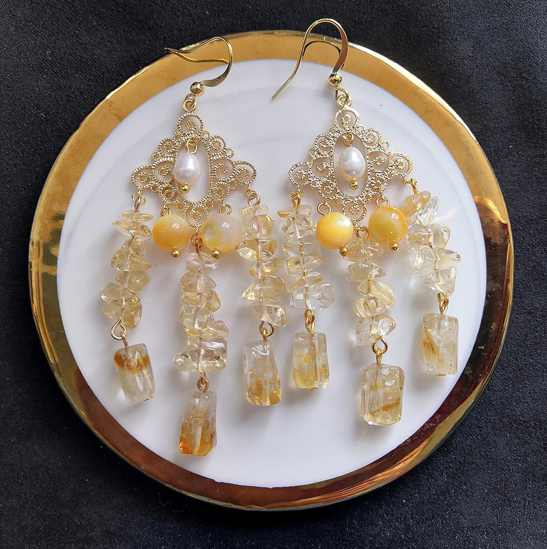 Indian Initiation Serie de Civilizaciones Antiguas 2020 Pendiente de gota de borla de almeja de oro barroco hecho a mano y citrino y almeja de oro en ganchos chapados en oro