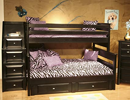 Amazon Com Twin Over Full Bunk Bed With Storage And Stairway Chest