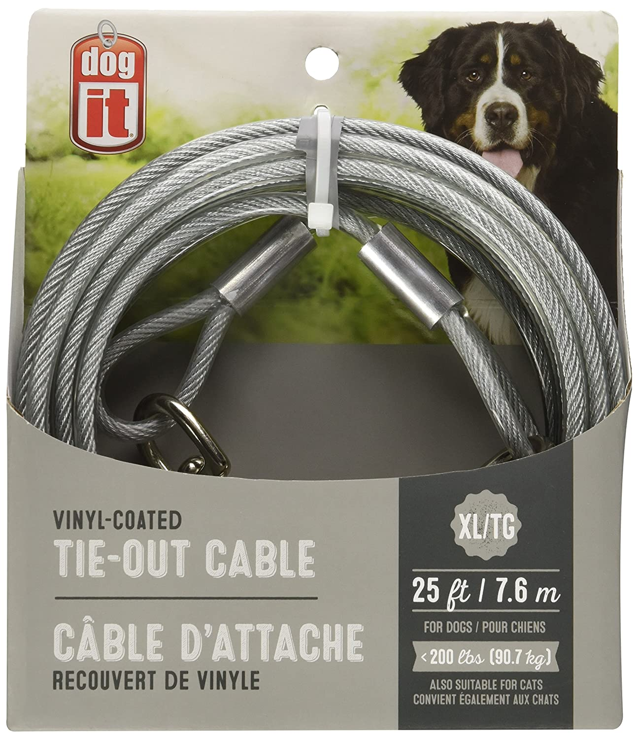 Avenue Tether Dog Tie-Out Cable, X-Large, 25-Feet, Clear
