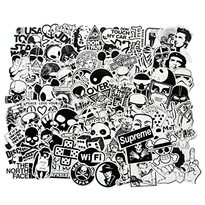 FNGEEN Laptop Stickers Black and White 100pcs Variety Vinyl Car Sticker Motorcycle Bicycle Luggage Decal Graffiti Patches Skateboard Cool Stickers for Laptop(Black and White): Home & Kitchen