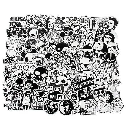 Fngeen Laptop Sticker Schwarz Und Weiß 100 Stück Vielzahl