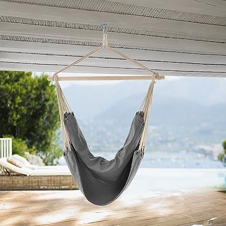 casa.pro] Hamaca XXL (100 x 100 cm) (Gris) Silla Colgante sillón ...