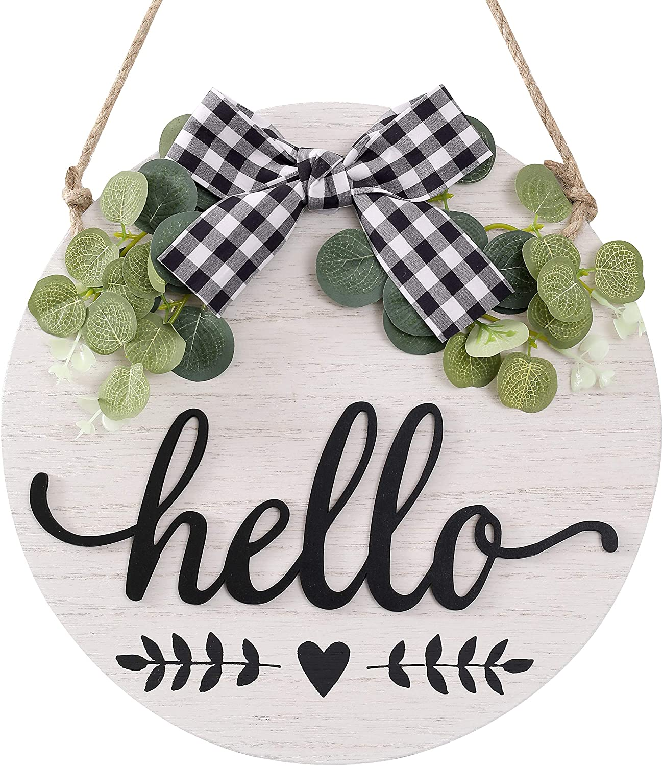 CYNOSA Welcome Hello Sign Porch for Front Door Decor, Rustic Wooden Door Hangers Wreath Decoration Wall Hanging Vertical Sign Farmhouse Outdoor Wall Decor (Hello White)