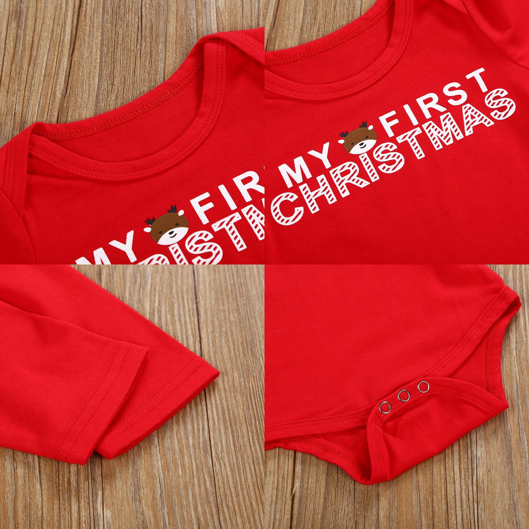 Christmas 4Pcs Outfit Set Baby Girls Boys My First Christmas Rompers(0-3 Months) by Von kilizo (Image #5)