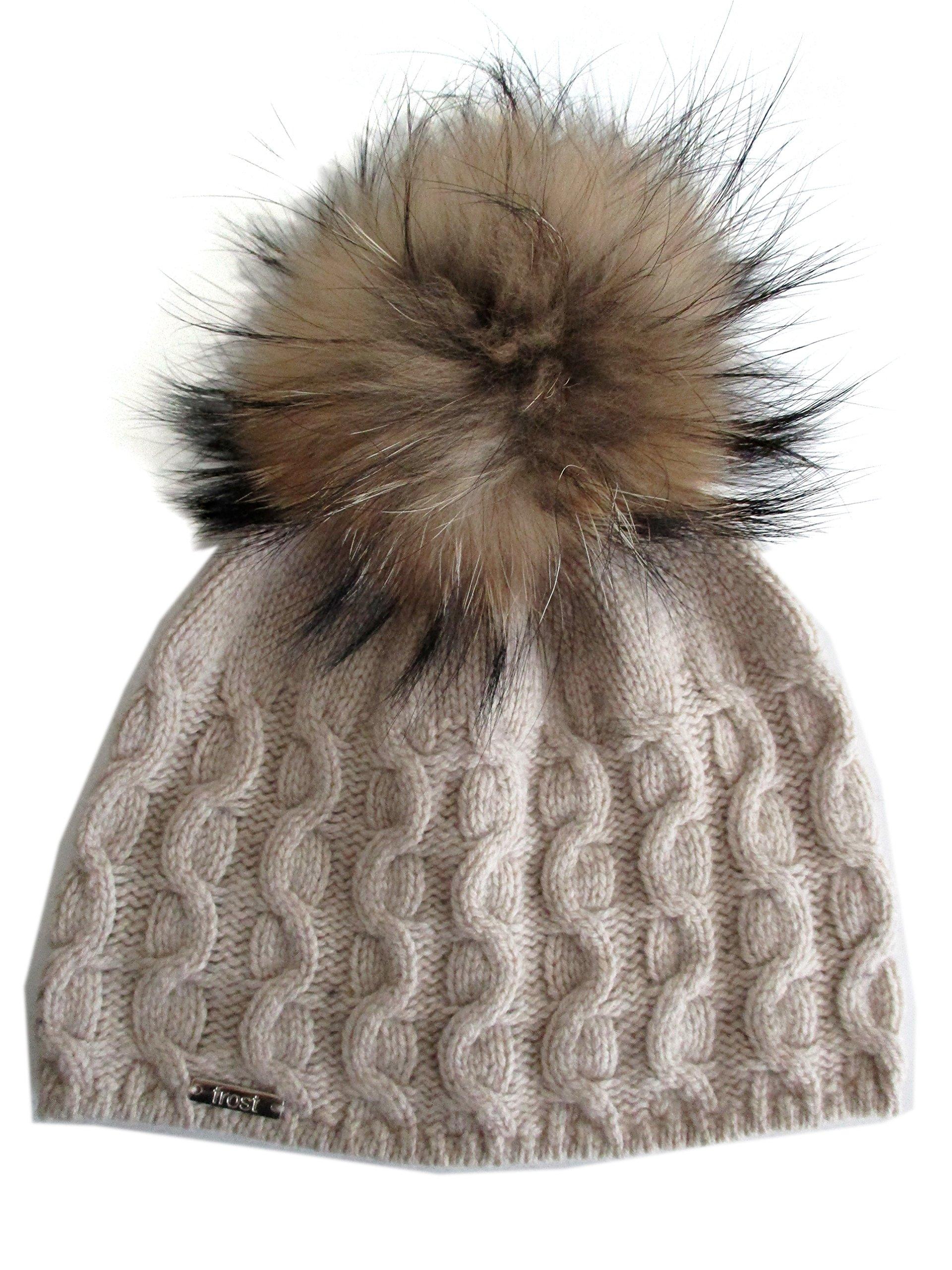 Frost Hats Cashmere Cable Hat with Detachable Genuine Fox Fur Pom CSH-735SRN Beige