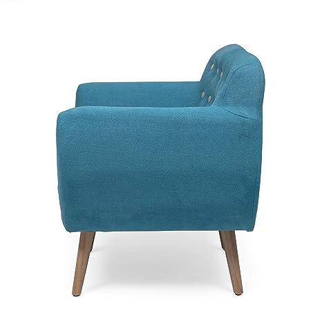 Homely - Butaca de Estilo nórdico Kelly Tela Azul y Patas Color Roble