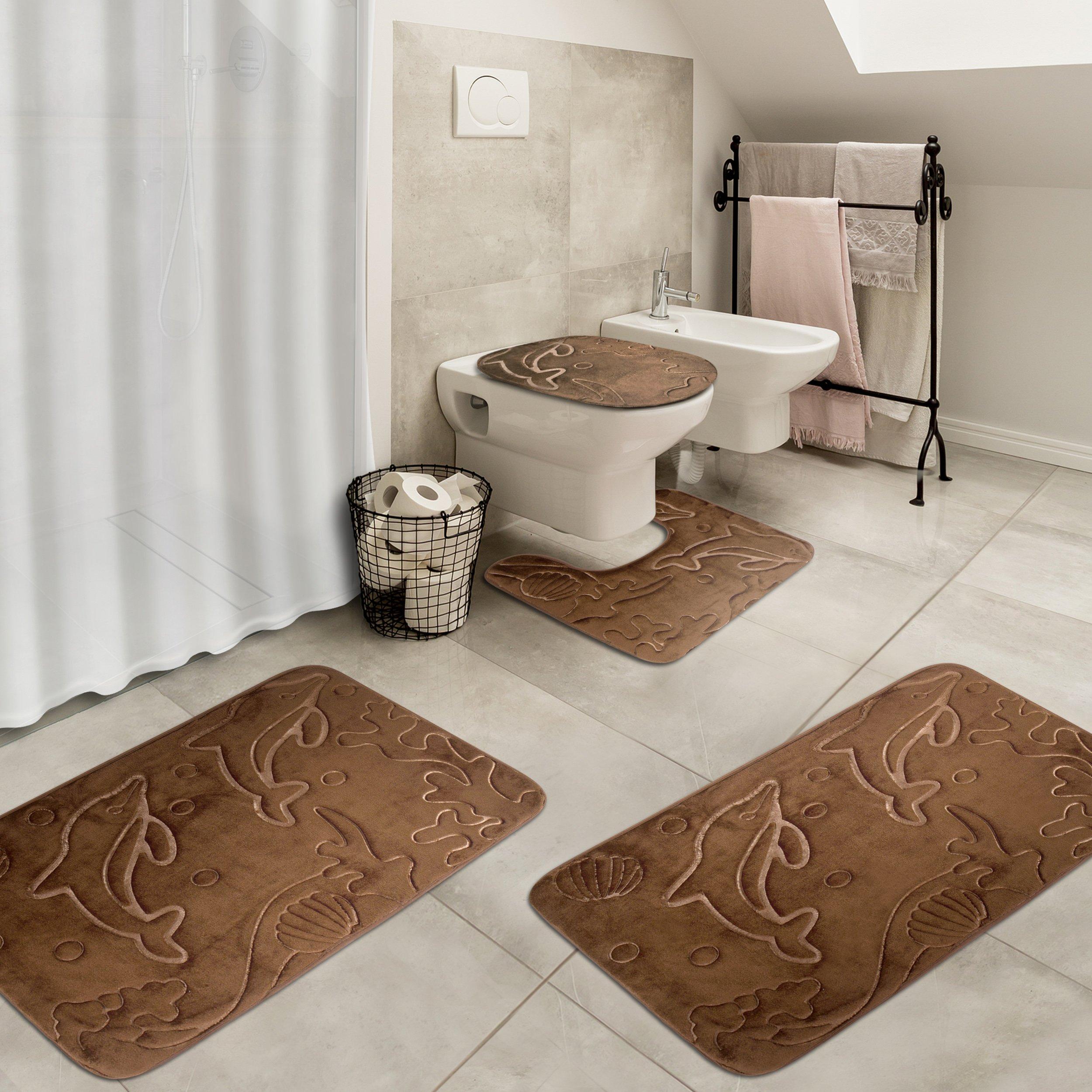 Effiliv 4 Piece Bathroom Rugs Set - Memory Foam Large Bath ...