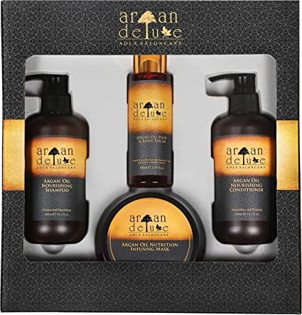 Pack de regalo Argan Deluxe para mujeres – Caja para un lujoso cuidado del cabello con aceite