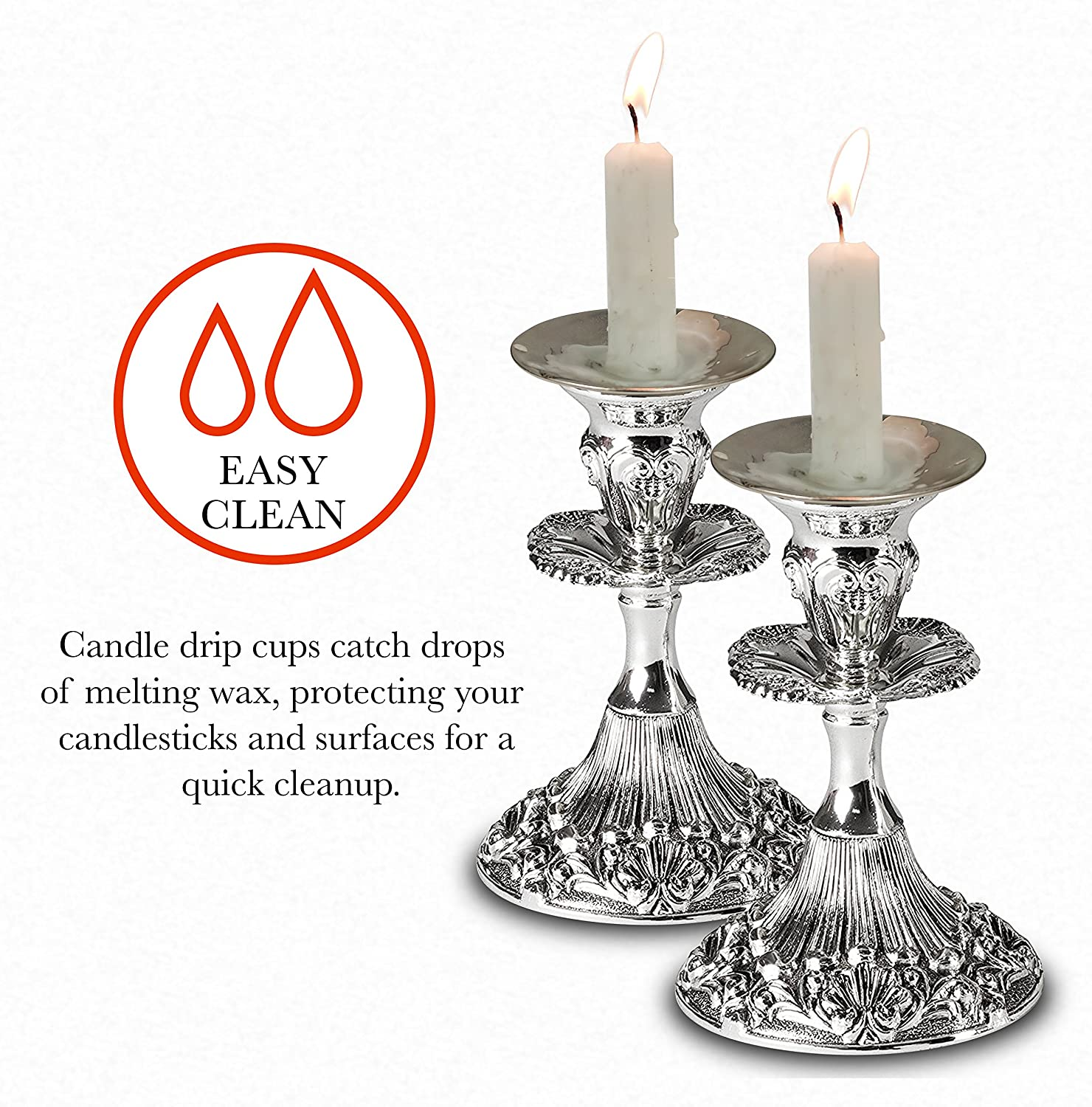 Ner Mitzvah Reusable Metal Candlestick Liners and Drip Guards 2 Pack Medium Nickel Plated Candle Holder Protector Bobeches Silver
