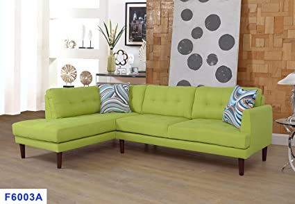 Beverly Fine Furniture SH6003A Emeral Left Facing Linen Sectional Sofa, Lime Yellow