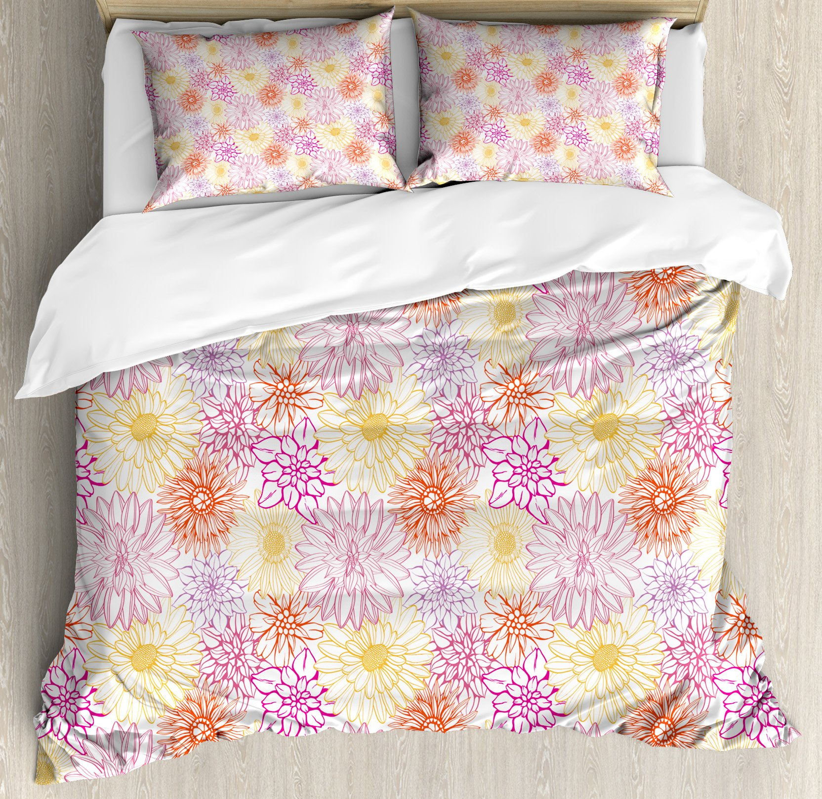 Floral King Size Duvet Cover Set by Ambesonne, Blossom Spa Gardening Theme Flower Petals Essence Bouquet Art, Decorative 3 Piece Bedding Set with 2 Pillow Shams, Pale Yellow Dark Coral Fuchsia