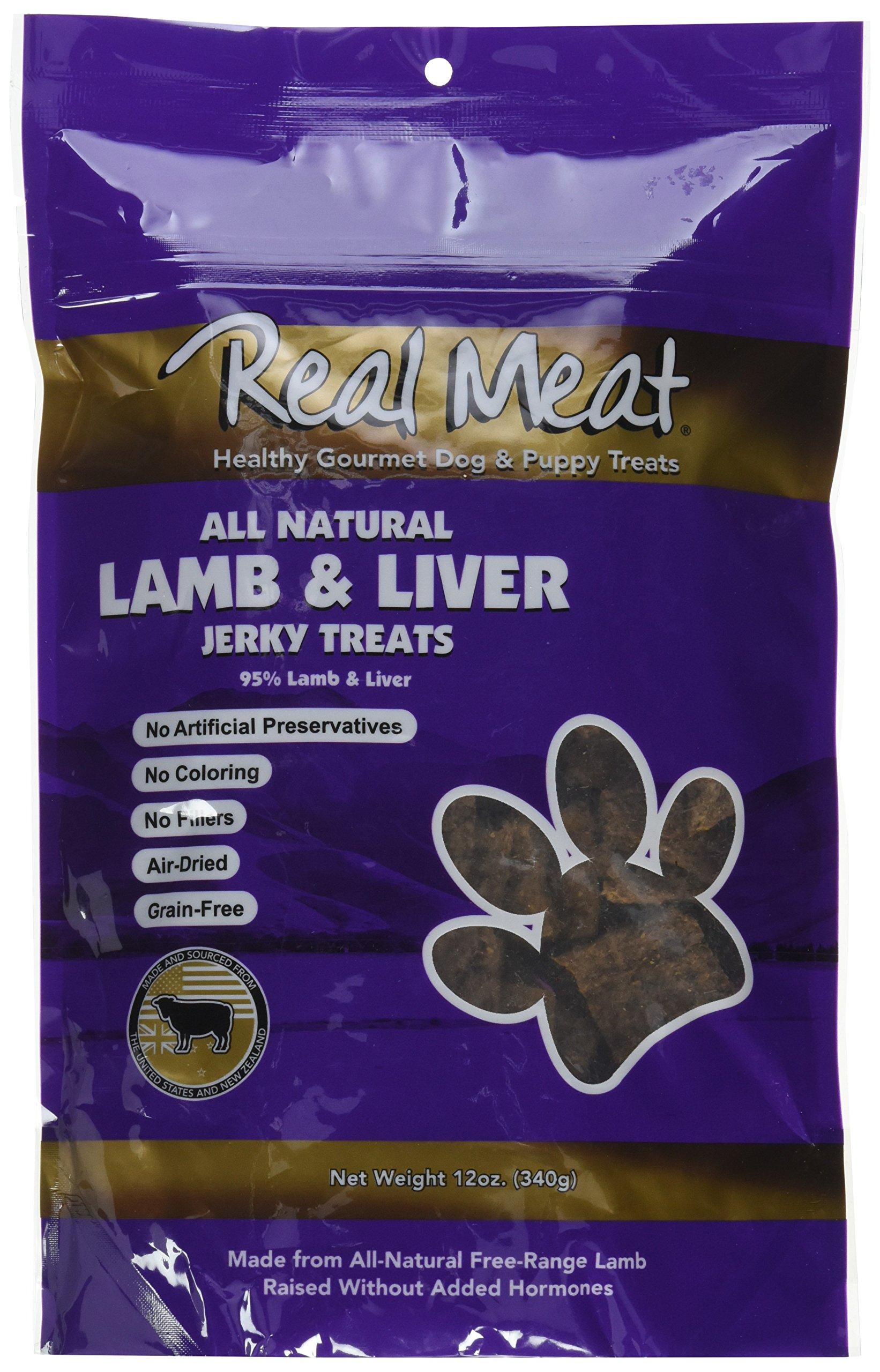 THE REAL MEAT COMPANY 828013 Dog Jerky Lamb Liver Treat, 12-Ounce