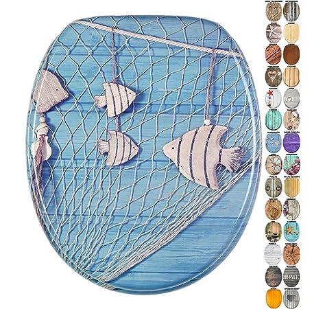 gran selecci/ón de atractivos asientos de inodoro con calidad superior y duradera de madera Gota de roc/ío azul Asiento para inodoro de cierre suave