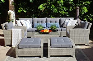 SunHaven Resin Wicker Outdoor Patio Furniture Set - 9 Piece Conversation Sectional Premium All Weather Gray Wicker Rattan, Aluminum Frame with Deluxe Fade Resistant Olefin Cushions (Stamford)
