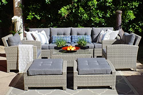 SunHaven Resin Wicker Outdoor Patio Furniture Set – 9 Piece Conversation Sectional Premium All Weather Gray Wicker Rattan, Aluminum Frame with Deluxe Fade Resistant Olefin Cushions Stamford