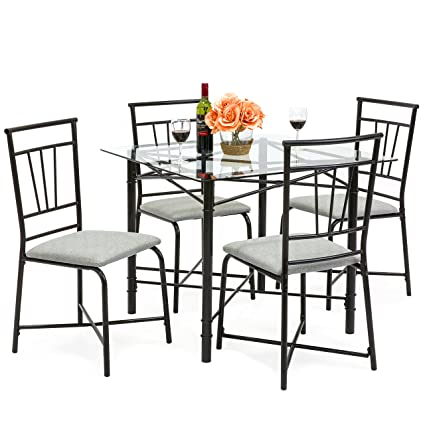 Amazon best choice products 5 piece square glass dining table best choice products 5 piece square glass dining table set w4 upholstered chairs watchthetrailerfo
