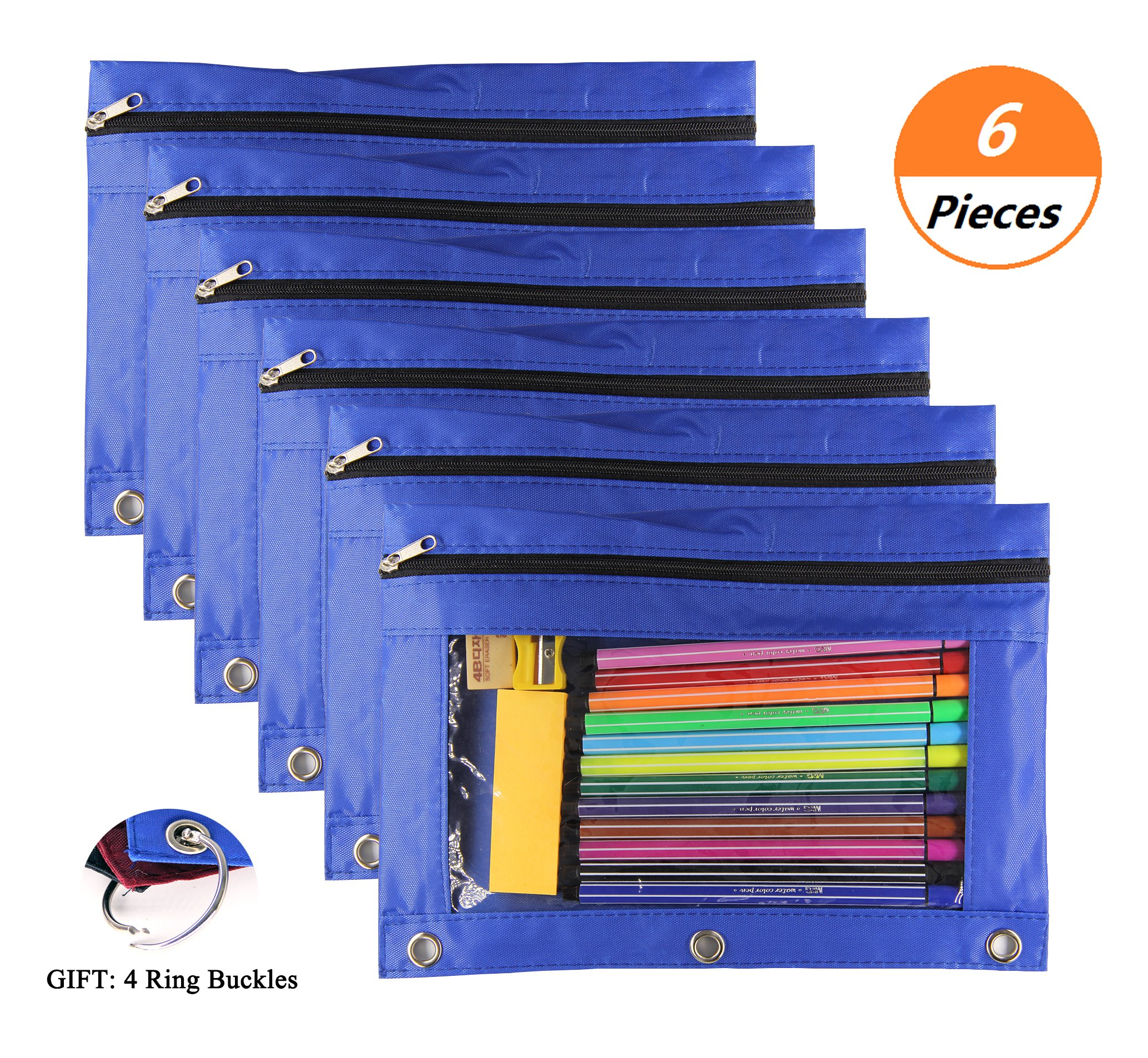 3 Ring Binder Pencil Pen Pouch - 6 Pcs Zipper Binder Pouch with Clear Window for School Office Daily Storage (Blue)
