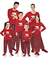 Mad Dog Concepts Matching Family Pajamas, Red Flannel Polar Bear Fleece Holiday Pajamas— With
