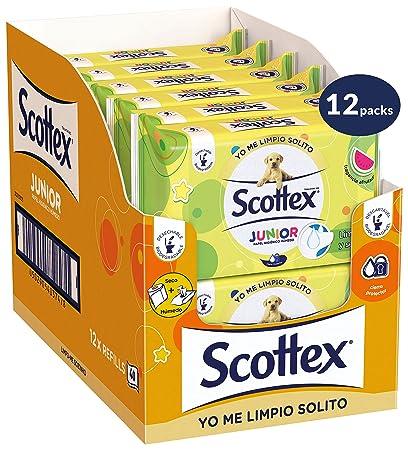 Scottex Junior Papel Higiénico Húmedo - 12 packs de 42 uds (504 unidades)