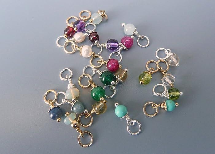 166dc6655f67e Amazon.com: Tiny Gemstone Charm,Birthstone Charm,Birthstone Bead ...