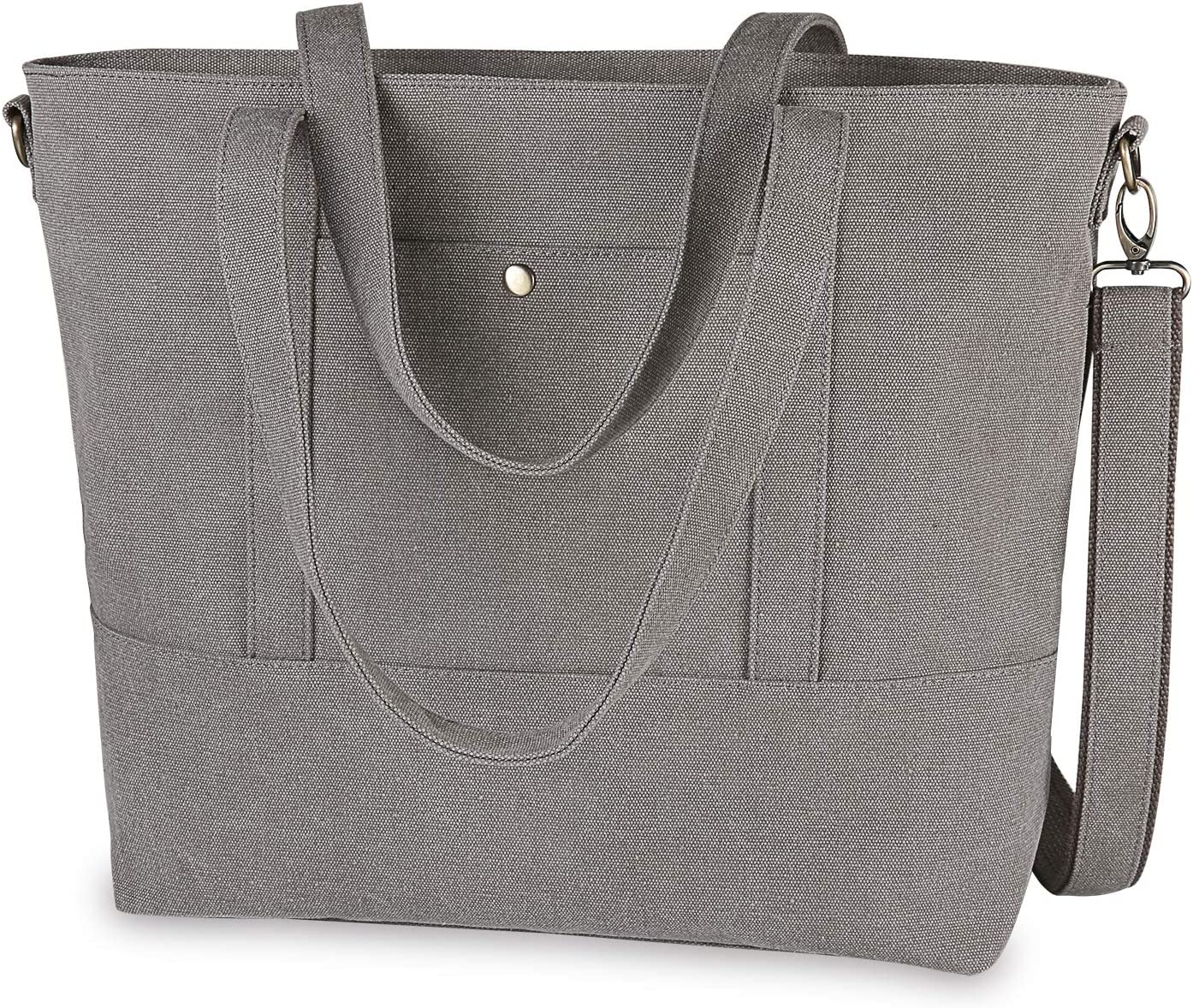 IDAILU Canvas Laptop Tote Bag for Women Fits 13 14 Inch Computer Large Capacity Work Travel Shoulder Handbag with Padding (Purple gray)
