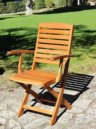 Silla plegable de madera, 2 unidades, para exterior, jardín ...