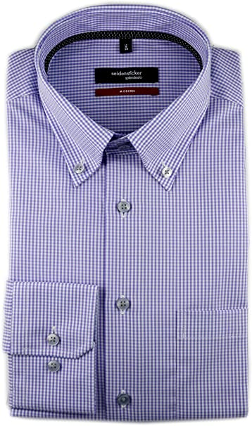 Seidensticker Langarm Hemd Modern blau weiß Kariert Kent Gr 44 117486.13