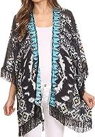 Sakkas Holliday Sheer Open Front Kimono Top With Fringe And Rhinestone Border