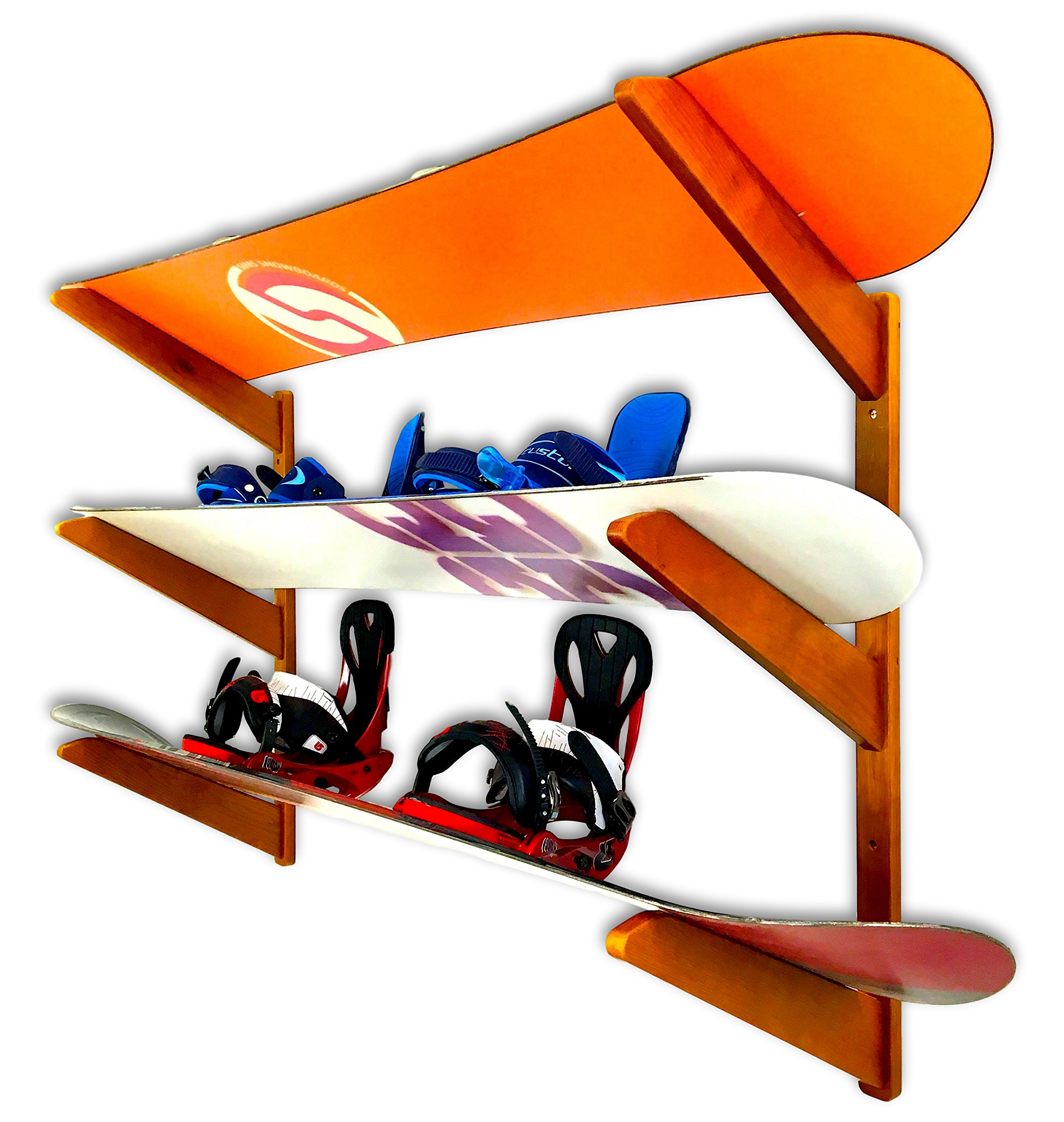 Timber Snowboard Wall Rack - Holds 3 Snowboards - Cherry Wood Home & Garage Storage Mount System by StoreYourBoard
