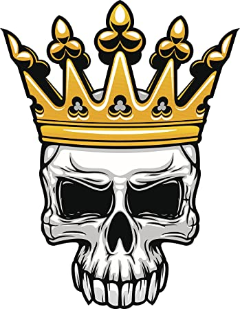 Skull with grand gold king crown vinyl decal sticker 4