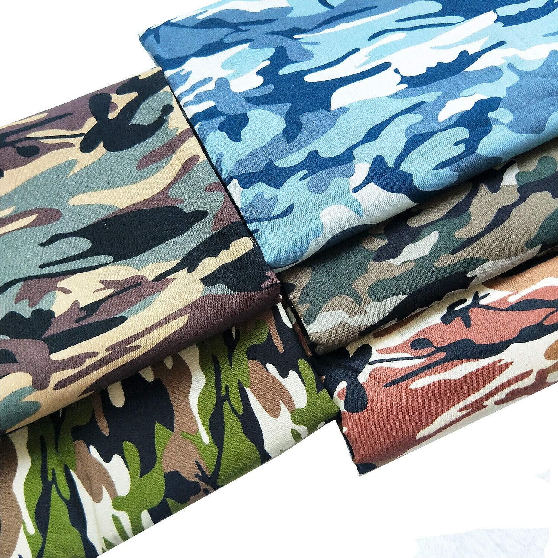 ZAIONE 5 piezas de tela de popelina de algodón 100%, con estampado de camuflaje