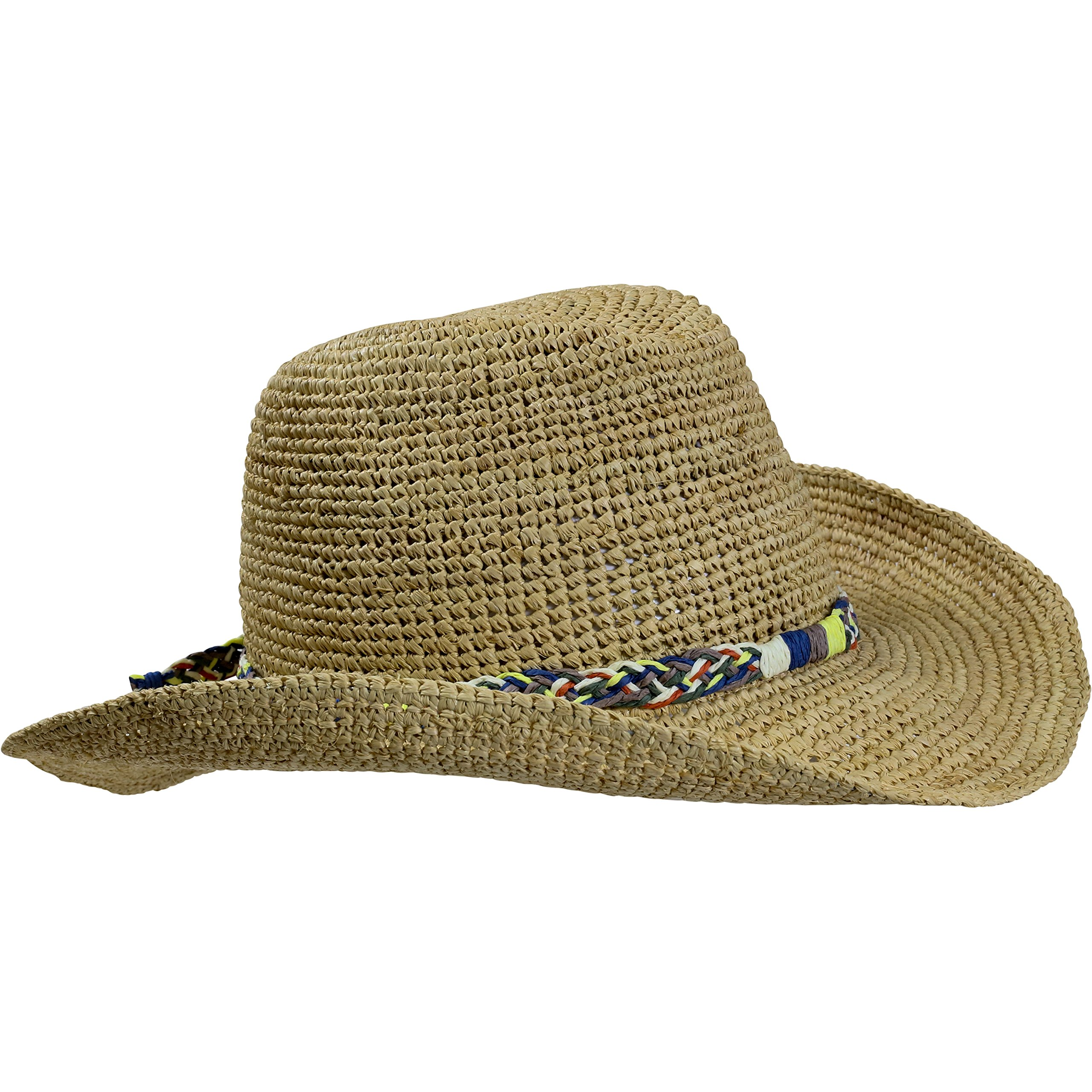 Turtle Fur Straw Beach Cowboy Wired Brim Summer Sun Hat Vermont Collection Sun Style, Coastal
