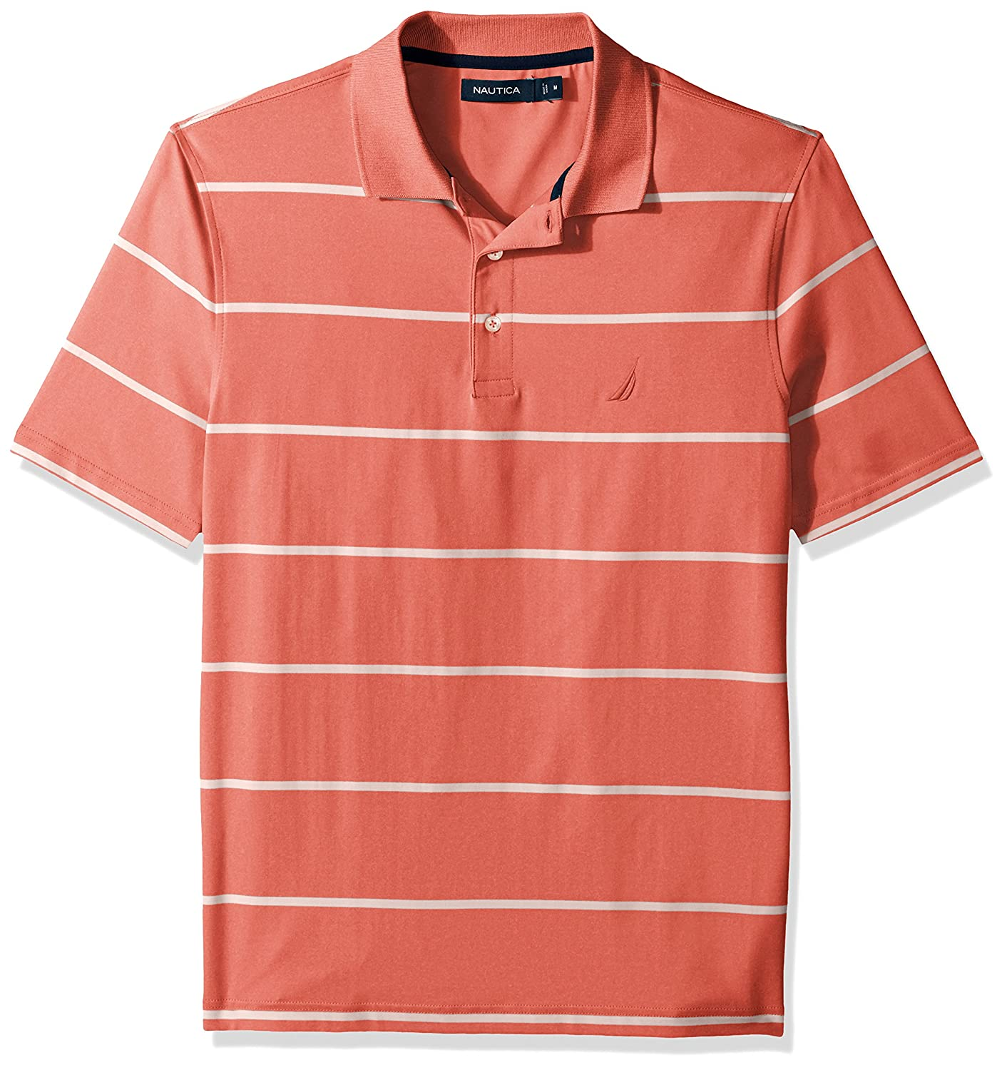 Nautica Mens Short Sleeve Classic Fit Striped Performance Polo