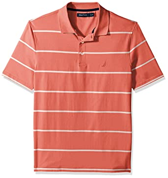 88483c45 Nautica Men's Short Sleeve Classic Fit Striped Performance Polo Shirt, Pale  Coral Small