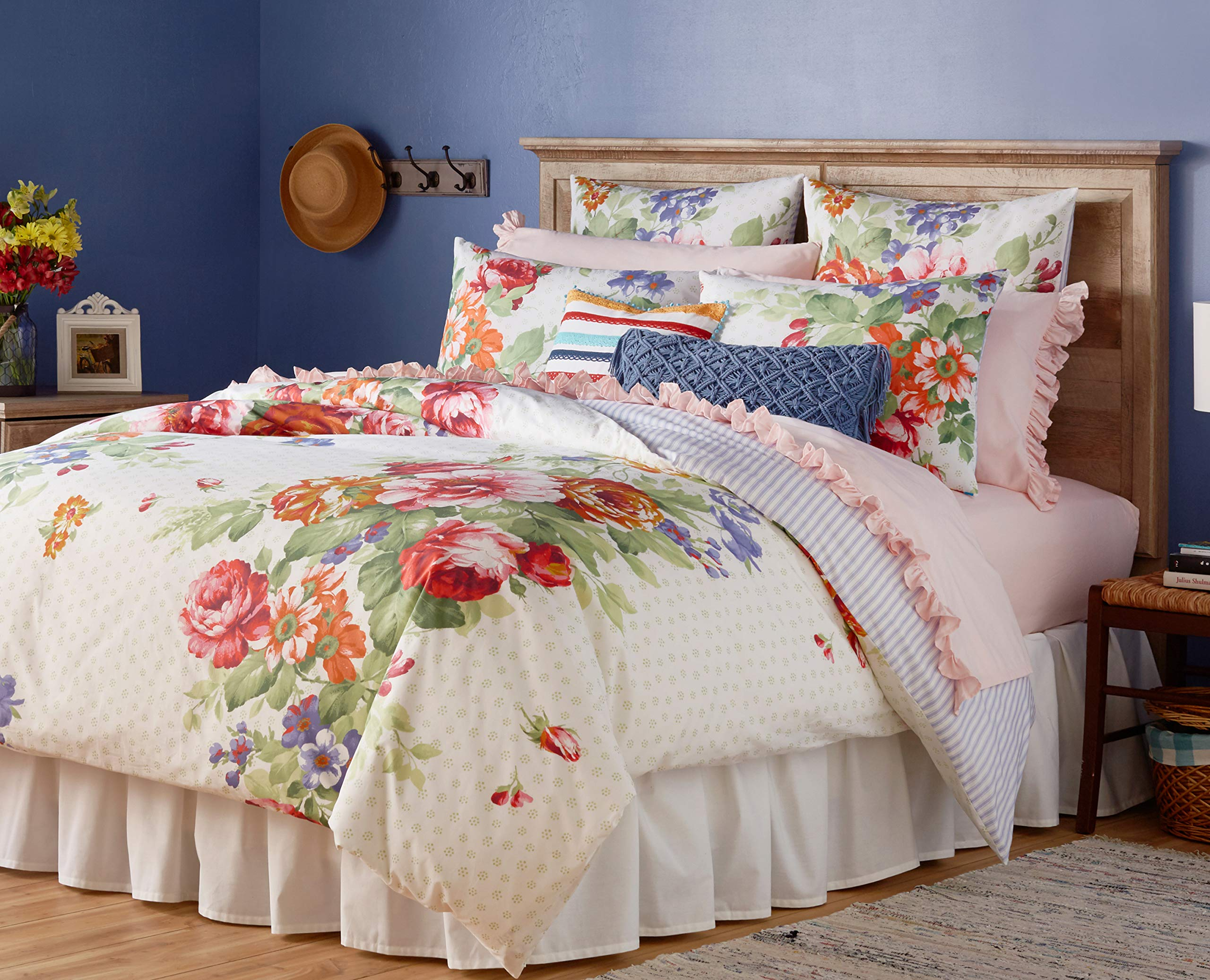 The Pioneer Woman Beautiful Bouquet Duvet Cover, White (full/queen)