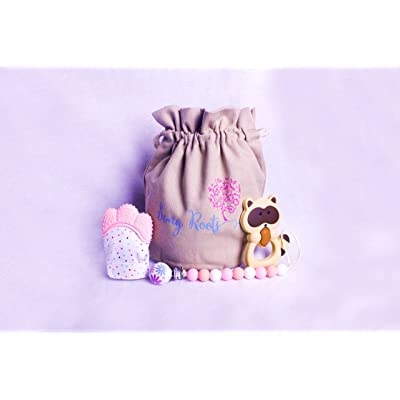 Song Roots Baby Teething Joy Kit + Teething Mitten+Teething Toy+ Pacifier Clip (Pink) : Baby