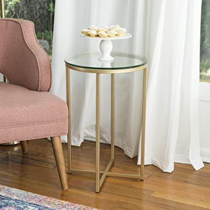 Amazon Com We Furniture 16 Round Side Table Glass Gold Kitchen