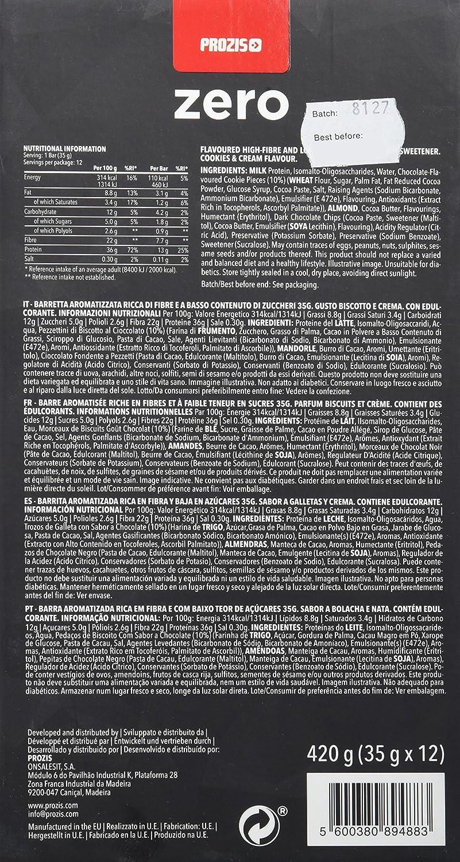 Prozis Zero Snack - Barra rico en proteína y Bajo en Hidratos de Carbono y Azúcares, 12x35g, Galletas y Crema: Amazon.es: Salud y cuidado personal