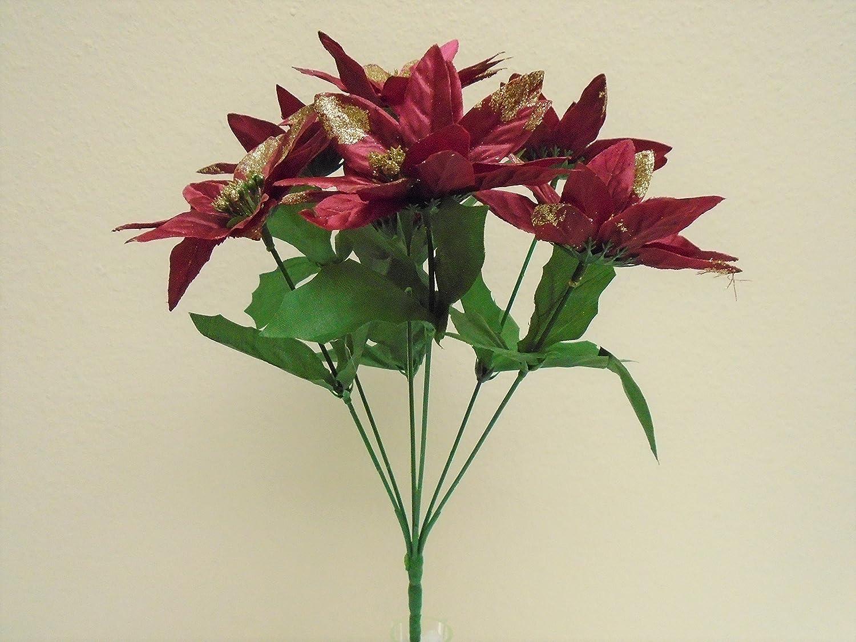 Amazon 4 Bushes Burgundy Christmas Poinsettia 7 Artificial Silk
