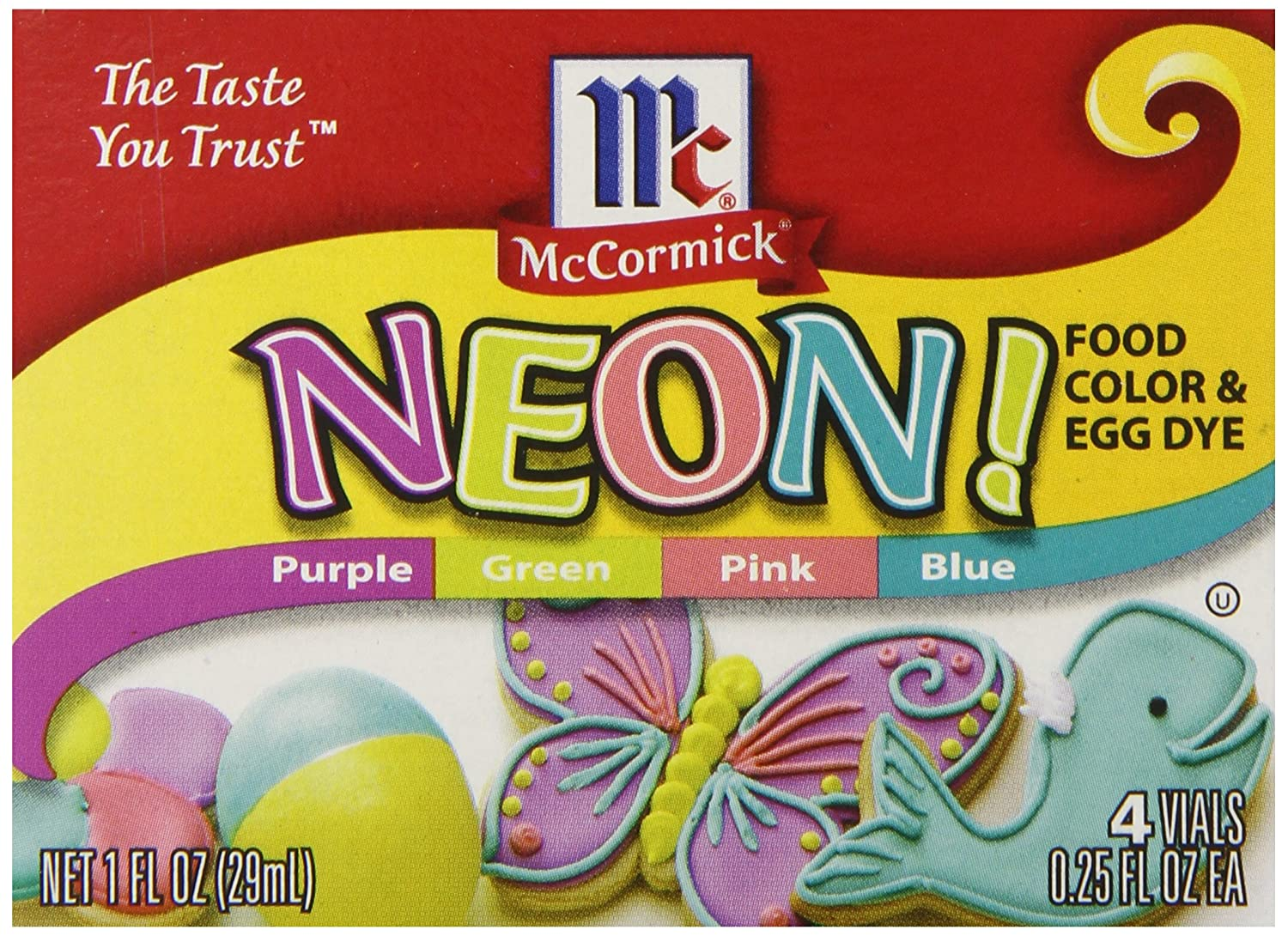 Amazon.com : McCormick Food Colors and Egg Dye, Four Neon Assorted ...