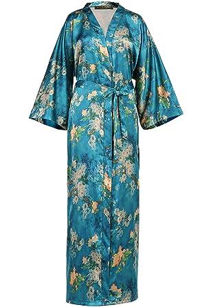 BABEYOND Womens Kimono Robe Long Floral Wedding Robes For Bridesmaids Satin Silk Kimono Nightgown Sleepwear 52&quot