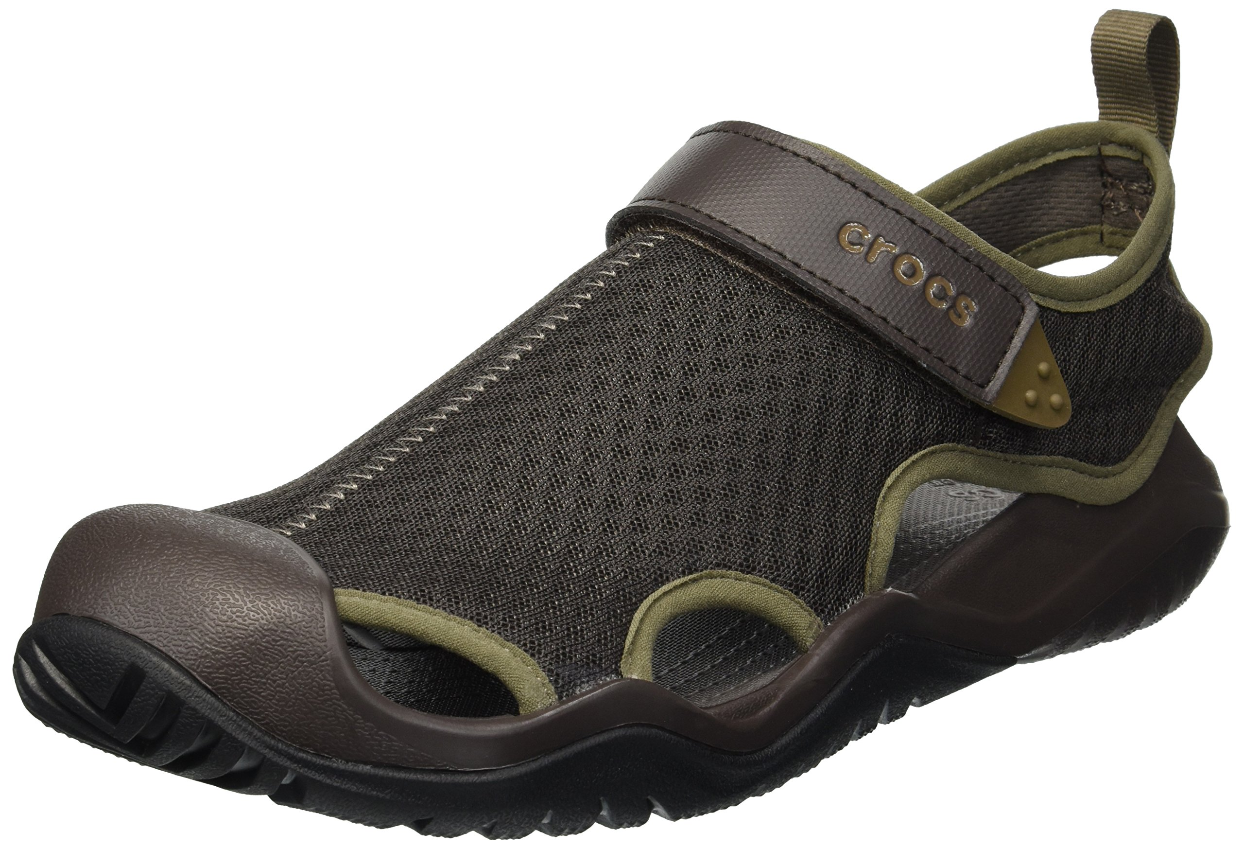 Crocs Men's Swiftwater Mesh Deck Sandal Sport, Espresso, 14 M US