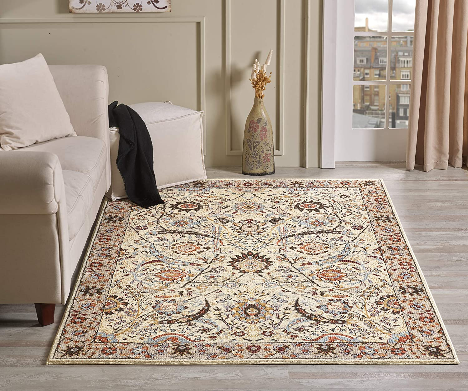 Golden Rugs Gabbeh Collection Persian Area Rug 5x7 Hand Touch Vintage South West Rug Floral Traditional Texture for Bedroom Living/Dining Room 6909