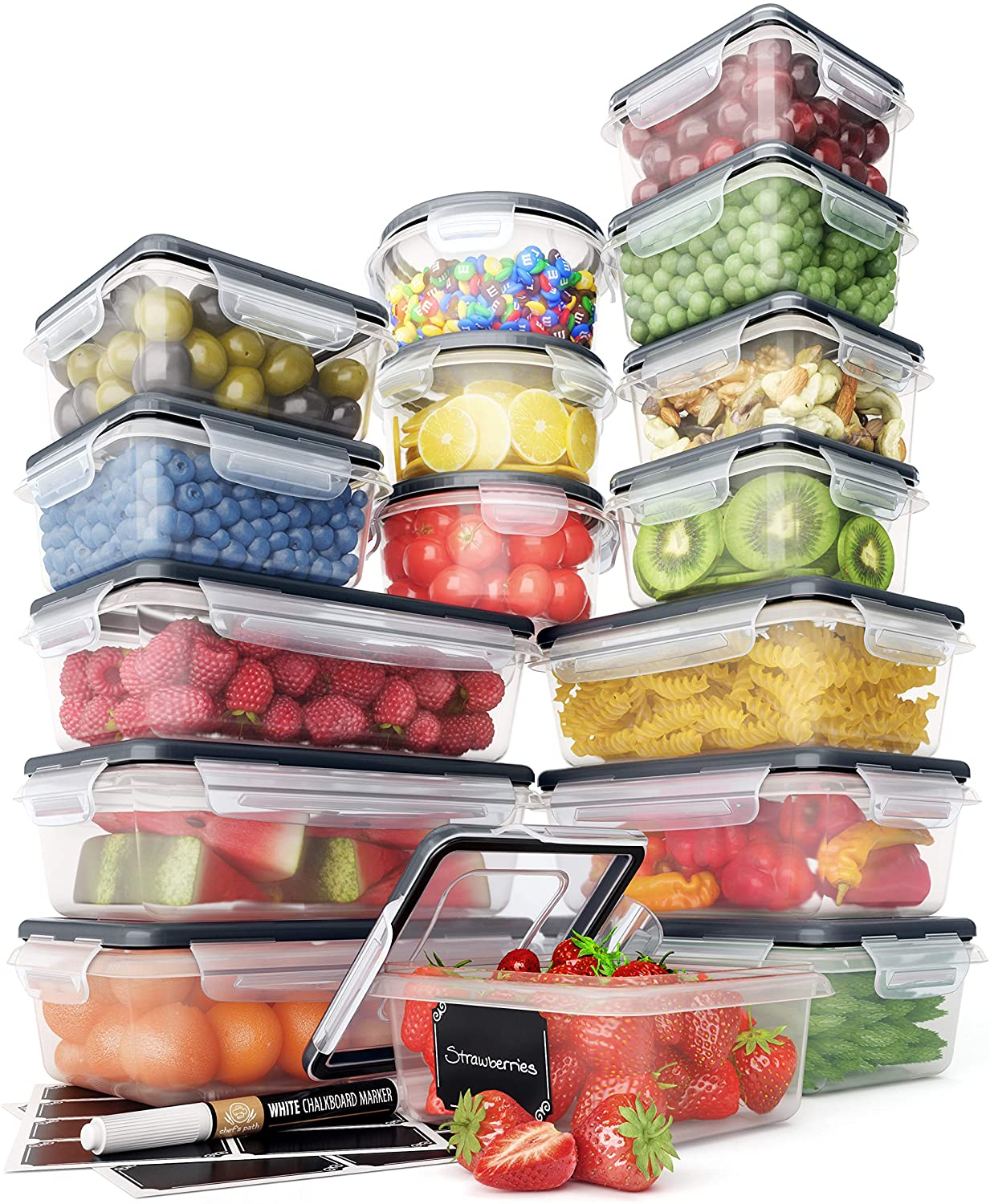 Food Storage Containers Set - Airtight Plastic Containers with Easy Snap Lids (16 Pack) - Leak Proof Kitchen & Pantry Organization - BPA-Free - 16 Chalkboard Labels & Marker - Chef's Path: Kitchen & Dining