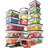 Juego Recipientes Herméticos de Plástico Almacenamiento Alimentos – Tapas Cierre Fácil (Pack 16) – Organización Cocina y Alac