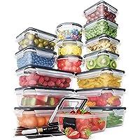 Juego Recipientes Herméticos de Plástico Almacenamiento Alimentos – Tapas Cierre Fácil (Pack 16) – Organización Cocina y…