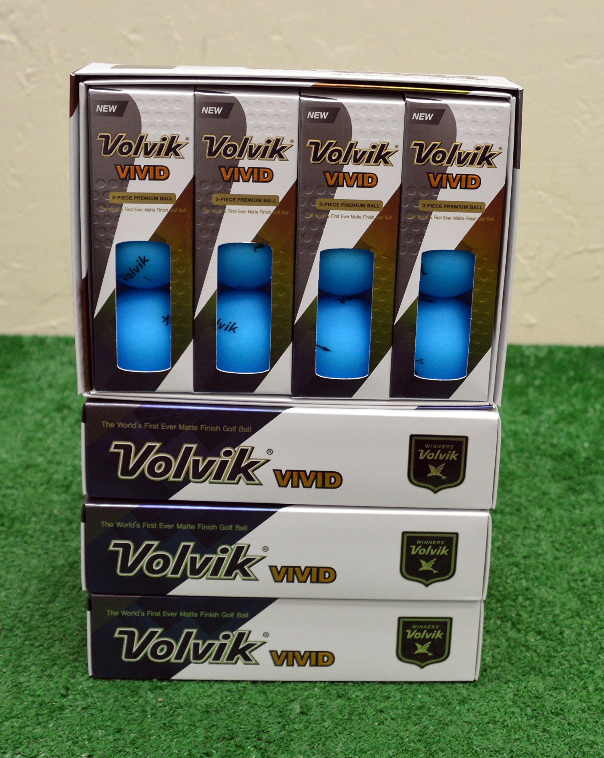 4 Dozen 2018 Volvik Vivid - Matte Blue Golf Balls