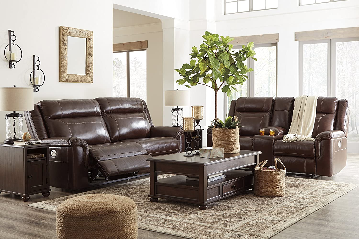 Amazon.com: Wyline Coffee Color Faux Leather Power Reclining Sofa ...
