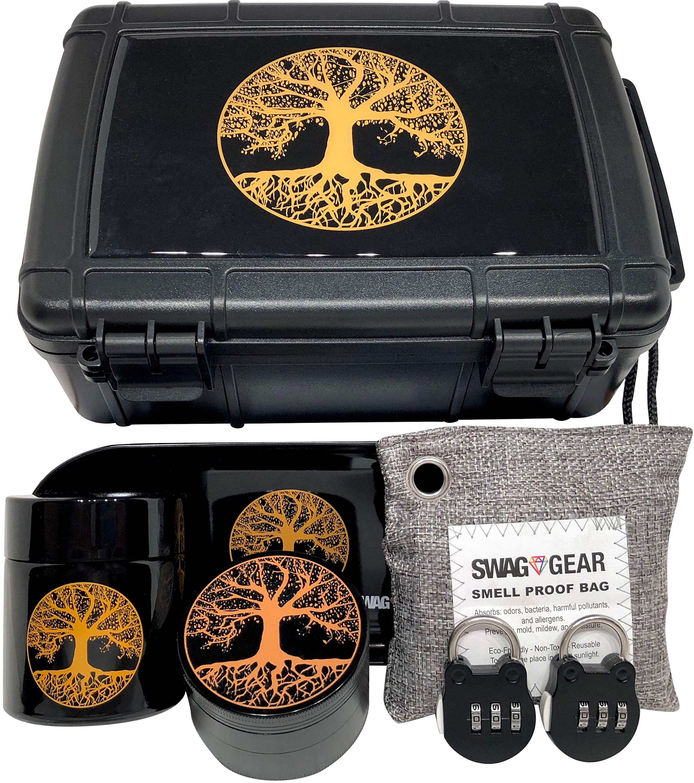 Tree of Life Stash Box Combo - Smell Proof Stash Box Combo - Locking Stash Box Combo - Comes with Grinder Stash Jar and Rolling Tray - (Tree of Life) by Swag Gear